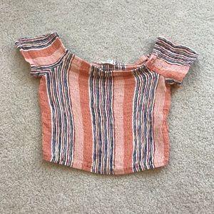 ILLA ILLA Tops | Lg Blush Pink Button Crop Top Boho Lace